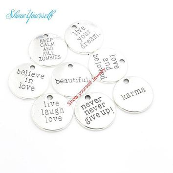 CREYET7 12pcs/lot Antique Silver Plated Live your Dream Karma Believe in Love Charms Pendants for Jewelry Making DIY Handmade 20mm A111