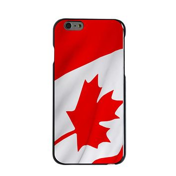 DistinctInk® Hard Plastic Snap-On Case for Apple iPhone - Red White Canadian Flag Canada