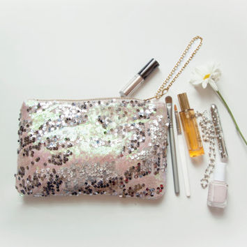 ready to ship. MERMAID Sequin Mini Clutch with Wrist Strap. Sequin Wedding Clutch. Ready to ship