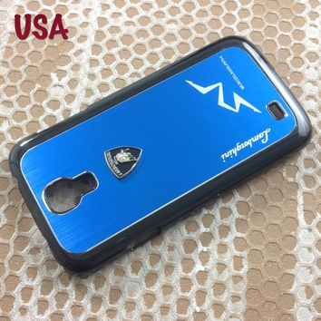 Lamborghini Samsung Galaxy S4 Case Lamborghini 3D metal Logo Premium Cover for S4 / i9500 - Blue
