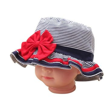 Striped Baby Hat Cotton Bow Infant Sun Caps Beanies For Babies Spring Summer Girls Bucket Hat Lovely Boys Hats Baby Photo Props