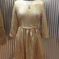 Back Button Gold Dress