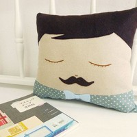 Handmade Plush / Cushion  Moustache George by CookieCutterEtsy
