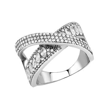 Embrace - Women's Stainless Steel High Polished No Plating Clear CZ Ring