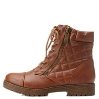 Chestnut Bamboo Quilted Combat Booties by Bamboo at Charlotte Russe