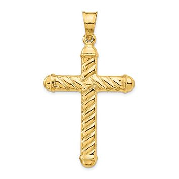 Men's 14k Yellow Gold Large Hollow 3D Rope Cross Pendant, 30 x 54mm