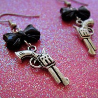 Super Cute Silver Pistol Gun Charm with Black by PaperDollHAWAII