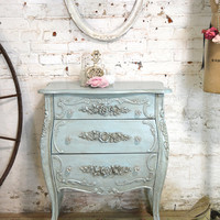 French Night Table Painted Cottage Chic Shabby Romantic French Bombay Night Table