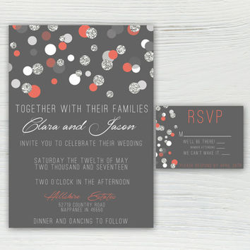 Polka Dot Coral Silver and Gray Wedding Invitation, Silver Glitter, Sparkle Wedding Invitation, Classy and Elegant **COLORS ARE EDITABLE
