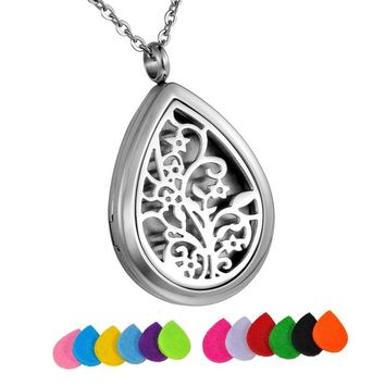Tear Drop Aromatherapy Diffuser Locket Pendant Necklace Jewelry