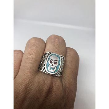 Vintage 1980's Gothic Southwestern Real Turquoise Inlay Skull Men's Ring