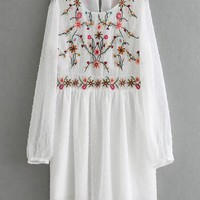 White Embroidery Floral Sheer Sleeve Babydoll Mini Dress