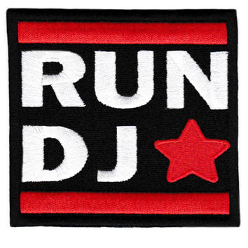 Vintage Style DJ Patch Badge 8cm Hip Hop RAP Turntable Cap Hat
