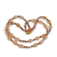 Peach and Gold Double Wrap Necklace, Extra Long Gemstone Bridal Necklace, Semiprecious Flapper Jewelry, OOAK Handmade Unique, ALFAdesigns