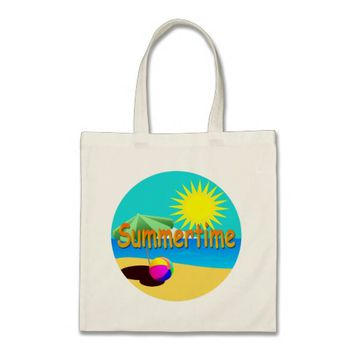 Summertime, Beach Holiday Illustration Tote Bag