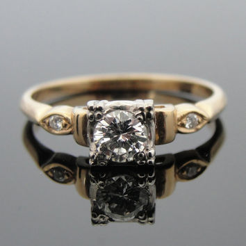 14k Gold and Diamond Art Deco Engagement Ring WIth Illusion Head RGDI226D