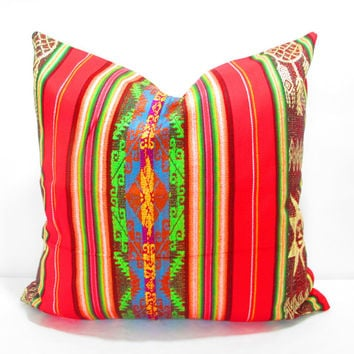 boho cushion, Mexican blanket pillow, mexican decorations, mexican embroidered pillow, mexican pillow cover,serape pillow, boho room decor