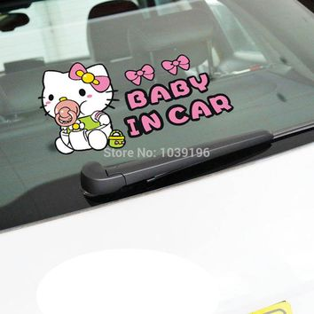 Newest Funny Little Hello Kitty Baby in Car  Stickers Car Decal for Toyota Chevrolet  Volkswagen Tesla Honda Hyundai Kia Lada