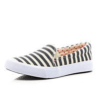 River Island Girls blue stripe slip on sneaker