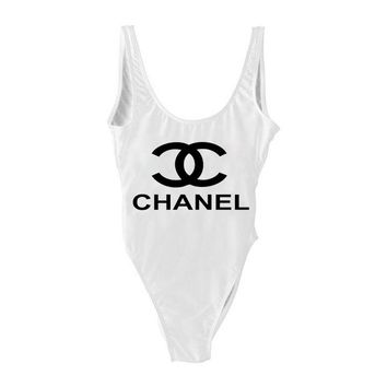 CHANEL  SWIMMER SWIM TAN TOP VEST SHIRT V NECK WOMEN LETTERS BOTTOMING CLOTHES BIKINI