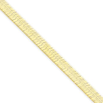4mm, 14k Yellow Gold, Solid Herringbone Chain Necklace, 24 Inch