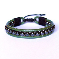 Green Leather Unisex Bracelet, Original Handmade Jewelry, Hematite Natural Stone, Unique Adjustable Beaded Bracelet
