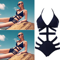 Hot Victoria swimwear high waist swimsuit hollow out bandage swimsuit