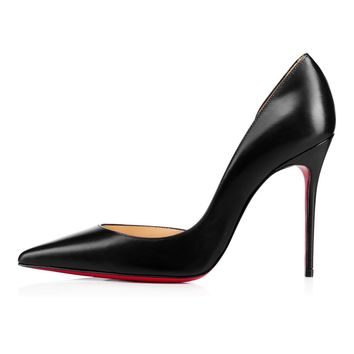 Christian Louboutin Cl Iriza Black Leather 100mm Stiletto Heel 13w - Ready Stock