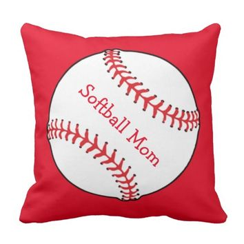Softball Mom Red and White Outdoor Pillow