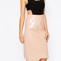 The 8th Sign 2 In 1 Pencil Dress With PU Skirt