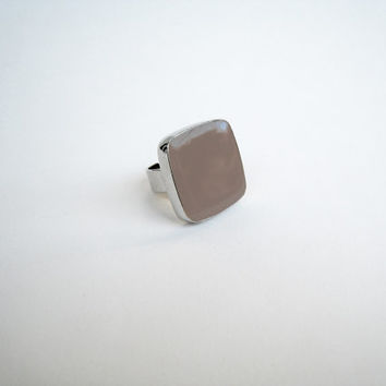 Beige statement ring, taupe tan khaki chocolate cafe au lait minimal glass dome cocktail big chunky silver adjustable earthy modern greek