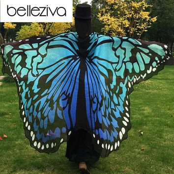 Belleziva 2017 Pareo Beach Cover Up Butterfly Wing Cape Bikini Cover Up Swimwear Women Robe De Plage Beach Bathing Suit Cover Up