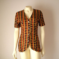 Vintage Button Up Blouse. V Neck Tunic. Mustard Yellow Rust Plum. Floral Geometric. Short Sleeves. Tulip. Tailored. Fall. Boho. Retro. Small