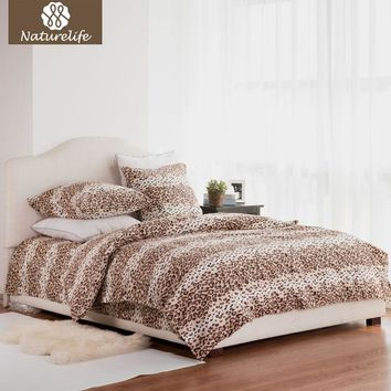 Naturelife 100% Cotton Bedding Set Leopard Duvet Cover Sets Soft Bed Linen Flat Bed Sheet Set Pillowcase 4PCS bed cover