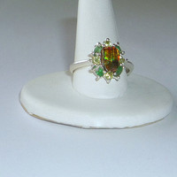 1.5ct Ammolite Ring With Emeralds & Peridot Sterling Silver .925