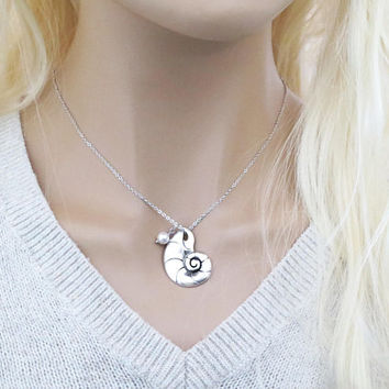 Ariel voice, Mermaid, Ursula, Silver, Necklace, Seashell, Conch, Necklace, Birthday, Friendship, Mom, Sister, Gift, Jewelry