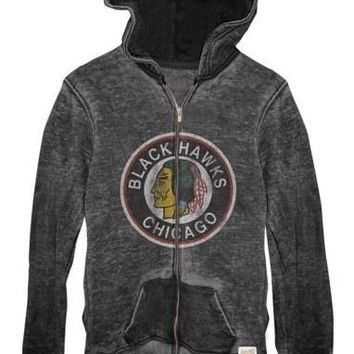 Chicago Blackhawks Women's Long Sleeve Burnout Zip Hoodie