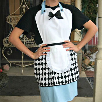 ALICE in WONDERLAND Costume full APRON  for women. Disney inspired. French Maid Hostess Bridal Birthday party gift.