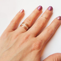 Set of 9 Tri Color Stacking Rings - Sterling Silver, 14K Rose Gold Filled, and 14K Gold Filled - Mixed Metal