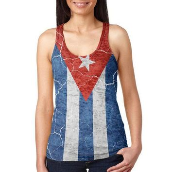 ESBGQ9 Distressed Cuban Flag Juniors Burnout Racerback Tank Top