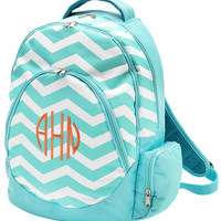 Personalized Aqua Chevron Backpack by Cordial Lee