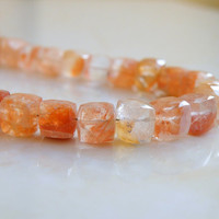 Sunstone Gemstone Faceted Cube Champagne Peach 8mm 13 beads 1/2 strand