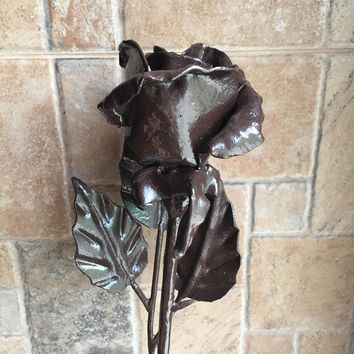 Hand forged rose, brown rose, wrought iron rose, metal sculpture, wedding anniversary, anniversary gift, Christmas gift, metal flower, rose