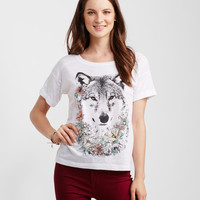 Floral Wolf Boxy Tee