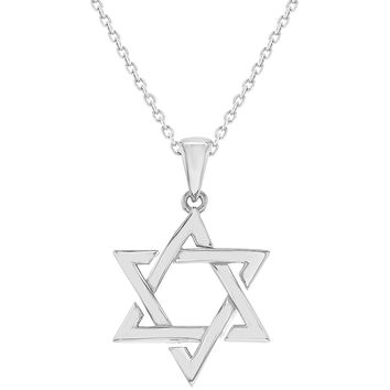925 Sterling Silver Star of David Pendant Jewish Necklace 18""