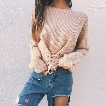 DCCKVQ8 Women Solid Color Drawstring Bandage Long Sleeve Sweater Short Knitwear Tops