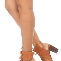 Camel Faux Leather Lace Up Peep Toe Chunky Booties
