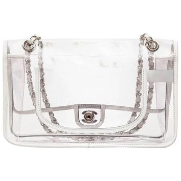 Chanel Timeless Bag in Transparent Plastic and Piping in White Lamb Leather