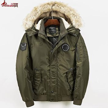 UNCO&BOROR Winter Jacket Men Casual Parka Jacket Thick Men Hooded Warm Men's Coats and Jackets Fashion overcoats Hommer bomber j