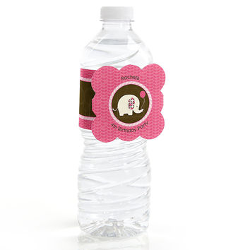 Girl Elephant - Personalized Birthday Party Water Bottle Label Favors